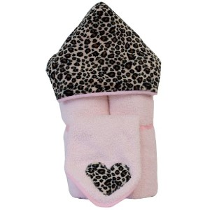 Tickle Toes - Cheetah Minky Hooded Towel on Pink by Tickle Toes