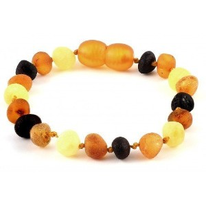 Raw Baltic Amber Baby Bracelet/Anklet Baroque Multicolour RBTB32 By Amber Corner by Amber Corner