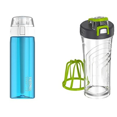 Thermos接続Hydration Waterボトルand Shaker Bottle with Integrated StationaryミキサーFitnessバンドル