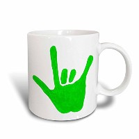 CherylsArt Love Signs – Love Hand Sign Language inグリーン – マグカップ 15-oz ホワイト mug_15301_2