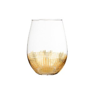 Fitz and Floyd 229132–4st Annalise Stemless Goblets、ゴールド