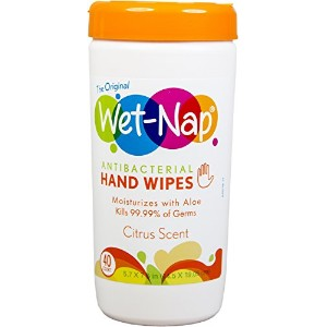 Wet-Nap The Original Anti-Bacterial Wipes Cannister, Citrus, 40 Count by Wet-Nap