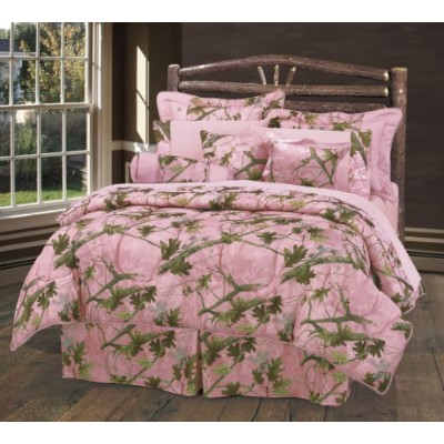 Oak Camo Comforter Set by HiEndアクセント–ピンク ツイン ピンク CM1002-TW-PK