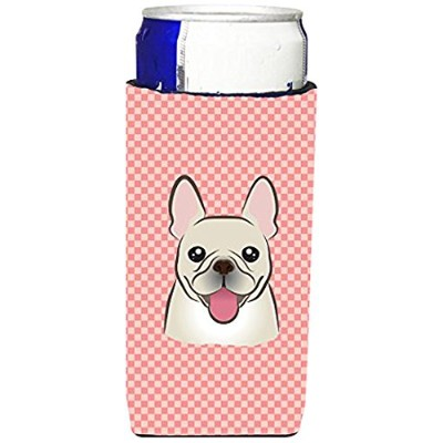 CheckerboardピンクフレンチブルドッグUltra Beverage Insulators forスリム缶bb1238muk