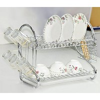 Cindere 2-tier Dish Rack with Removable drainboardステンレススチール台所用具ディッシュ乾燥ラックトレイホームキッチンの