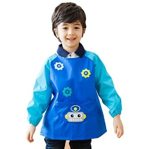 OLizee長袖防水アートSmock withフロントポケット漫画ロボットKids PaintingエプロンBib for Eating M(Height:95-115cm Age:3-6yrs)...