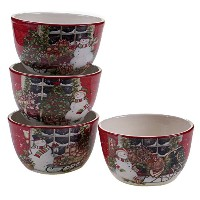 "Certified International雪だるま's Sleigh by Susan Winget Set of 4 Ice Cream Bowls 5.25"" 31328SET/4"