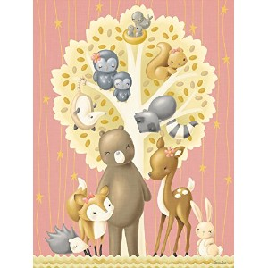 """Oopsy Daisy Fine Art for Kids The動物ツリーGirlキャンバス壁アートby Sarah Lowe 14 x 18"""" NB22128"""