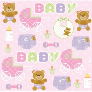 Creative Converting Baby Shower Teddy Baby Pink 16 Count 3-Ply Paper Beverage Napkins by Creative...