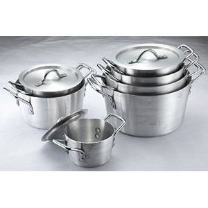 Uniware Heavy Gauge高品質アルミSauce Pot Set 14 Pcs Set (1.5 2.75 3.75 4.75 5.5 7 10 Qt) シルバー 9003