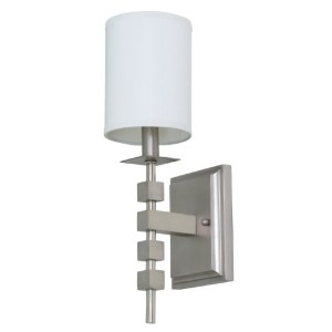 House of Troy Lighting LS204-SP Lake Shore 1-Light Wall Sconce with White Linen Fabric Shade, Satin...