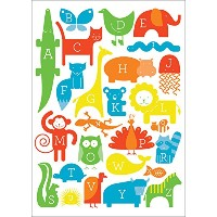 "Oopsy Daisy Fine Art for Kids ABC Animalia Primaryキャンバス壁アートbyアンパサンドデザインStudio 10 x 14"" NB21128"
