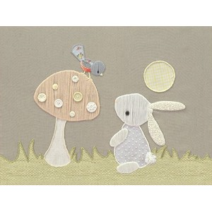 "Oopsy Daisy Fine Art for KidsヴィンテージBunny and Birdキャンバス壁アートby Kristenホワイト 24 x 18"" NB21540"