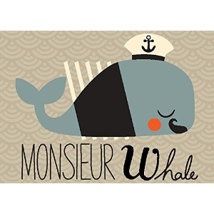 """Oopsy Daisy Fine Art for Kids Monsieur Whaleキャンバス壁アートby Amy Blay 14 x 10"""" NB21804"""