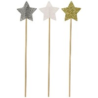 PuTwo 20カウントWedding Cake Decorating Frozen Cupcake Toppers Toothpicks、Sliver /ブルー/雪 Star ホワイト