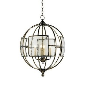 Currey Company 9750 Chandelier with Seeded Glass Shades, Pyrite Bronze Finished by Currey and...