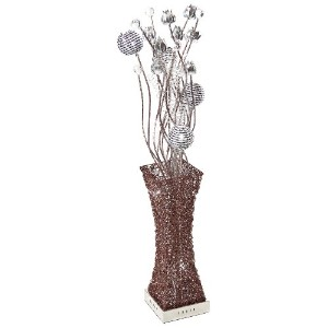 Arclite 7870-6F Floor Lamp with Crystals and Silver Flower Accents, 46 Height, Coffee by Arclite