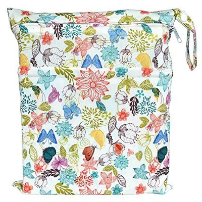 Wet Dry Bag Baby Cloth Diaper Nappy Bag Reusable with Two Zippered Pockets (Bloom) by Hibaby