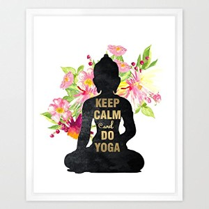 eleville 8x 10Keep Calm and DoヨガRealゴールド箔と花柄水彩アートプリント枠なし祝いギフトRelaxing Quoteホーム壁アートMotivational...
