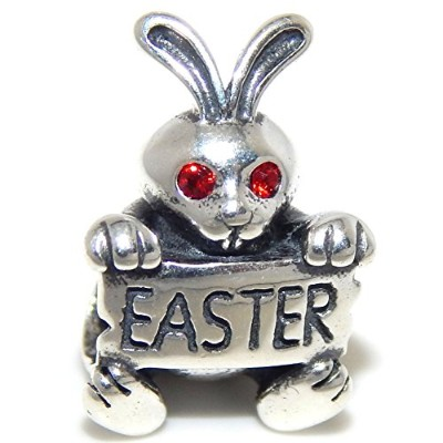 Proジュエリー925Solid Sterling Silver Bunny withレッドCrystal Eyes Holding an 'イースター」標識チャームビーズ