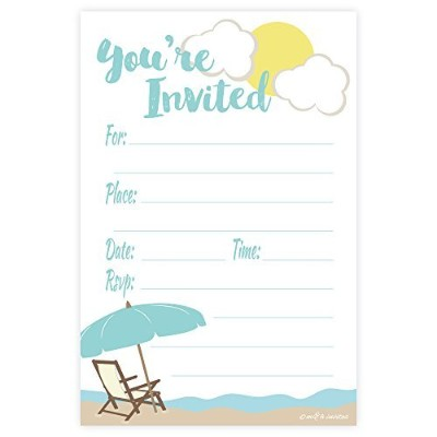 Beach Theme Fill In Invitations - Any Occassion (Birthday, Retirement Party, Summer) - 20 Count...