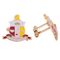Kappa Alpha Psi Fraternity Colored Crest Gold Cufflinks