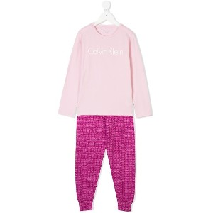 Calvin Klein Kids ロゴ パジャマセット - ピンク&パープル