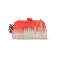 Serpui straw clutch - レッド