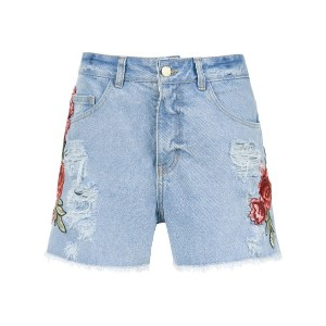 Martha Medeiros embroidered patches jeans shorts - Jeans Com Abacaxi