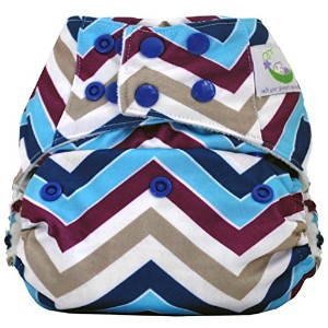 Sweet Pea Bamboo AIO One Size Diaper (Chevron Purple) by Sweet Pea