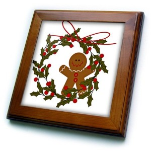 FT _ 97920TNMGraphicsクリスマス–Wreath with Gingerbread Man And Holly–フレーム付きタイル 8x8 Framed Tile ft...