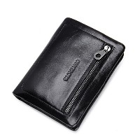 Contacts Real Leather Credit Card Case Sleeve Holder Coin Pocket Short Wallet Black
