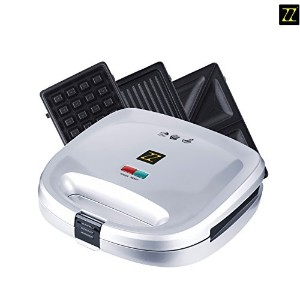 ZZ S6141B-S 3 in 1 Breakfast Sandwich and Waffle Press with 3 Sets of Detachable Non-stick Plates ...
