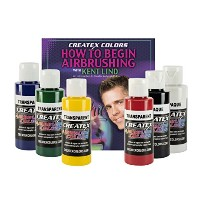 Createx Colors Primary Airbrush Set with How to Begin Airbrushing DVD, 2 oz. by Createx Colors