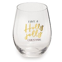 StemlessクリスマスHolidayワイングラス( Have A Holly Jolly Christmas )