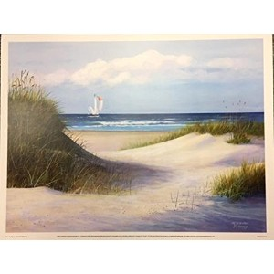 Passing By by Jacqueline Penney 16x 12アートプリントポスターCoastal Beachヨット夏