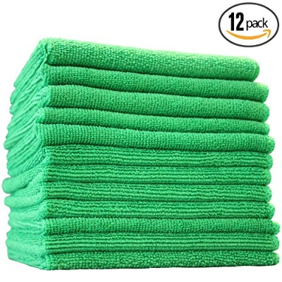 (Green) - (12-Pack) 30cm x 30cm Professional Grade All-Purpose Microfiber Cleaning Towel - THE RAG...