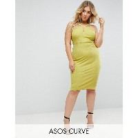 エイソス レディース ワンピース トップス ASOS CURVE Bandage Cut Out Bodycon Midi Dress Chartreuse