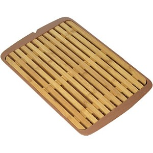 Surpahs竹繊維Bread Cutting Board with Crumb Catcherトレイ( 12by 9Inches )