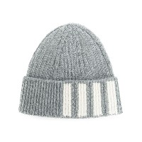 Thom Browne Rib Hat With 4-Bar Stripe In Cashmere - グレー