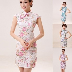 Women Fashion Casual Package Hip Dress Retro Flower Beauty Chinese Cheongsam