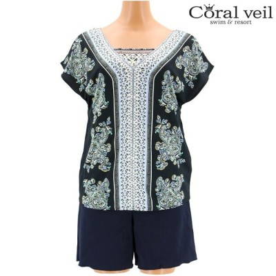 【Coral veil】Multi Paisely マルチペイズリー スムースパンツ付 4点セット水着 9号 水着 みずぎ ミズギ 4点セット水着 レディース水着
