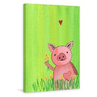 Marmont Hill mh-melmad-11-c-18 Pig in Grass by Melonie Madison絵画印刷Wrappedキャンバス12 x 18 Pig in Grass...