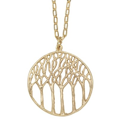 Tree of Lifeフォレストペンダントネックレス( 24K金メッキ, Large ) by Mercedes Shaffer