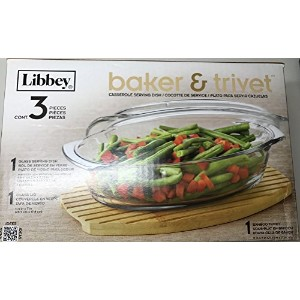 1.6QTガラスBaker Covered Casserole Serving Dish &竹五徳