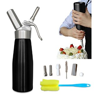 Professional Whipped Cream Dispenser Aluminium Cream Whipper - Whipping Siphon with Stainless Steel...