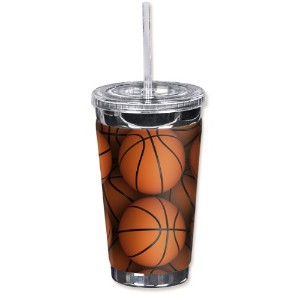 "Mugzie 893-tgc "" Basketballs "" To Go Tumbler with Insulatedウェットスーツカバー、16オンス、オレンジ"