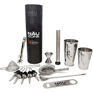 näuzoneボストンShaker Barware Set withバーキット装置とバーツールfor Professional Drink Mixing 14 Piece Tube Box Set...