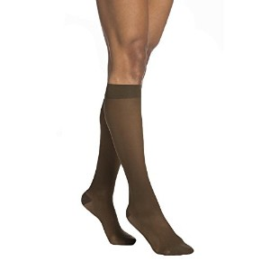 Sigvaris EverSheer Womens Open Toe Knee Compression Hose 30-40 mmHg - Small Long - Suntan -...