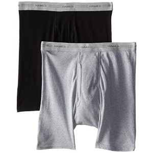 Hanes 2349VT Men Red Label Boxer Brief P2 Small Black-Grey Black
